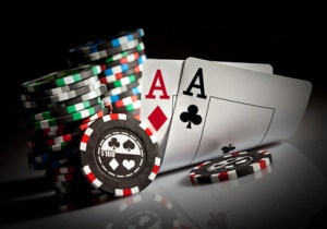 gambling chips and aces